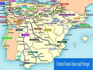 Camino de Santiago routes in Spain and Portugal