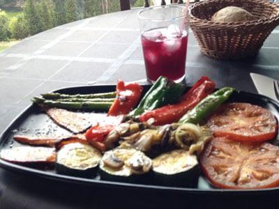 vegetarian food and water
