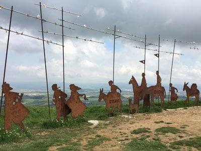 Camino-de-Santiago-pilgrims-structure-on-Alto-del-Perdon