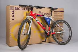 Correos bike transport box with bicycle.